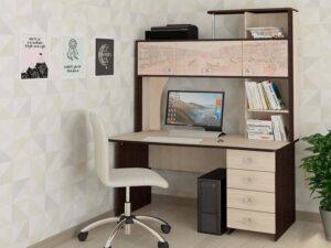 Стол с надстройкой Орион 6.10 Венге-Кобург (1930х1500х770)