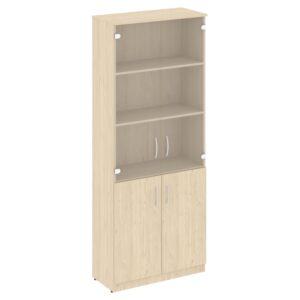 Шкаф высокий широкий (2 низкие двери ЛДСП, 2 средние двери стекло) В.СТ-1.2 (770х360х1915)