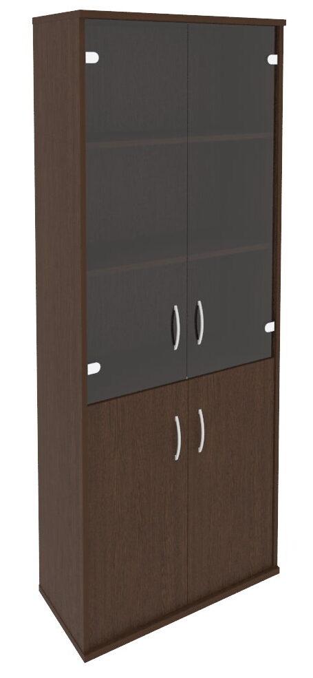Шкаф высокий широкий (2 низкие двери ЛДСП, 2 средние двери стекло) А.СТ-1.2 (770х365х1980)