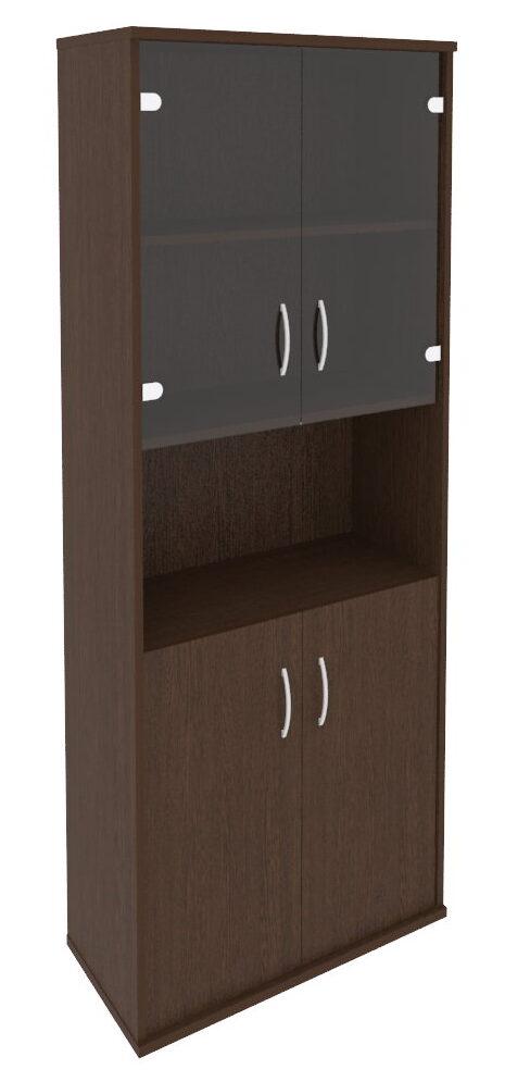 Шкаф высокий широкий (2 низкие двери ЛДСП, 2 низкие двери стекло) А.СТ-1.4(770х365х1980)
